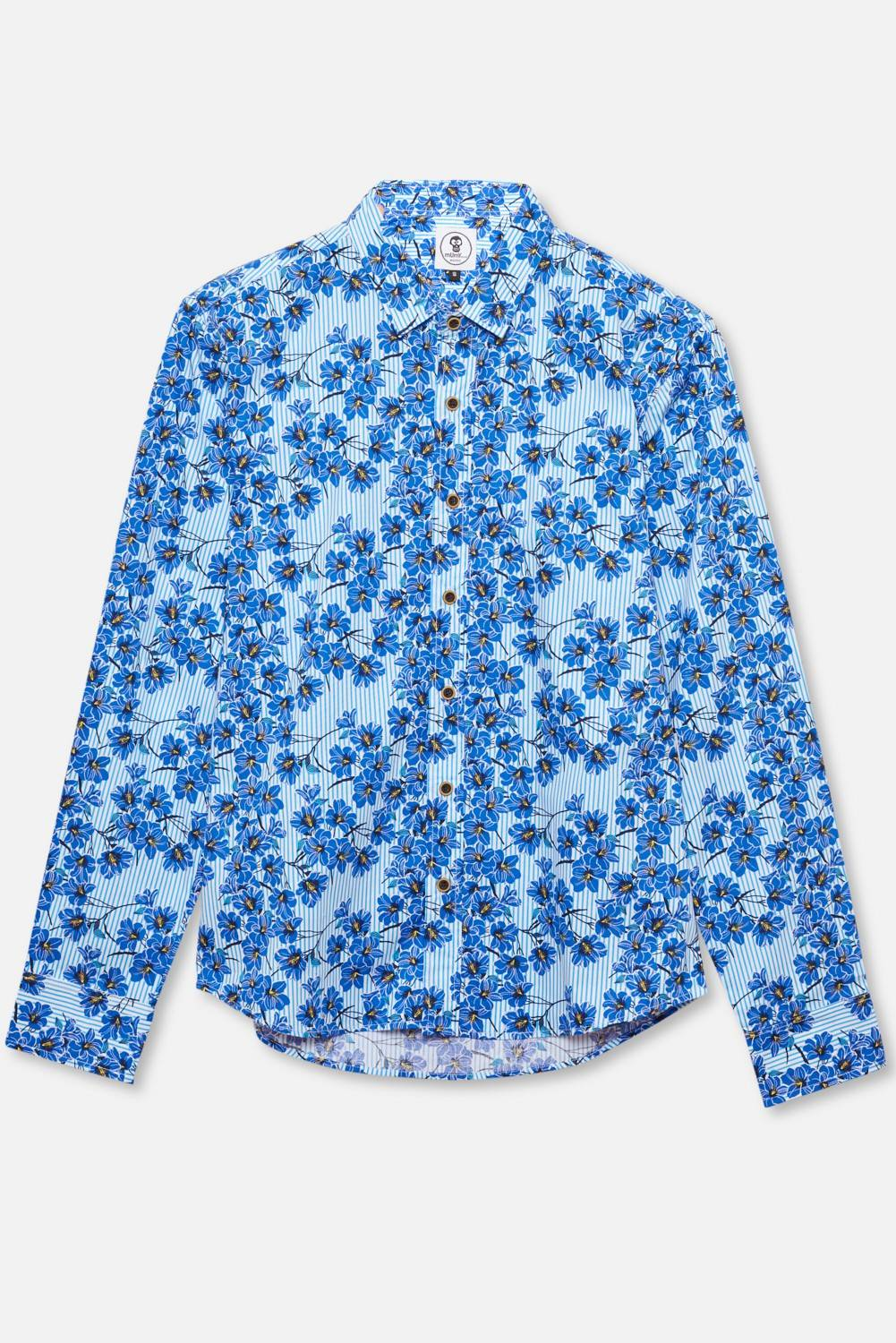 ADULT'S PRINTED SHIRT BLUE FLOWERS