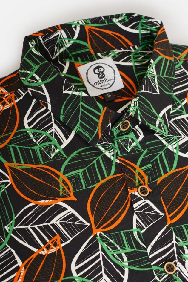 ADULT'S PRINTED SHIRT NEON LEAVES
