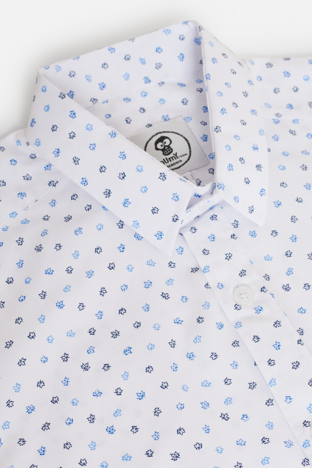 CAMISA ESTAMPADA VINTAGE MINI HOJAS MAPLE AZULES