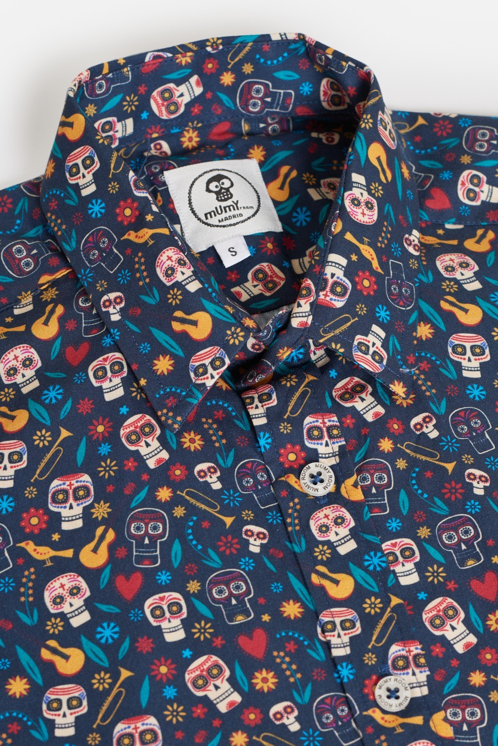 CAMISA ESTAMPADA SKULL GUITAR BIRDS