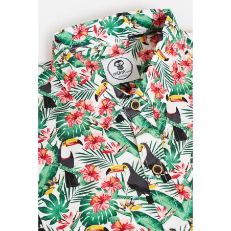 ADULT´S PRINTED SHIRT TOUCAN AND HIBISCUS