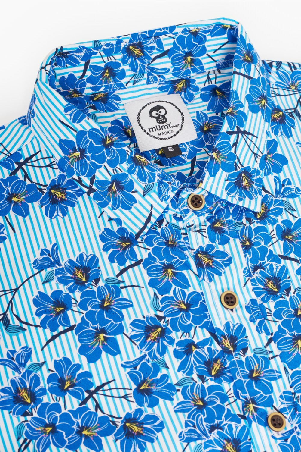 ADULT´S PRINTED SHIRT BLUE FLOWER WITH LINES