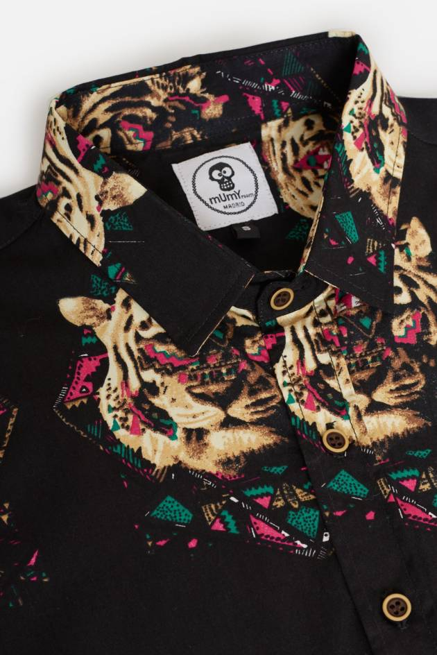 ADULT´S PRINTED SHIRT ETHNIC TIGER IN BLACK