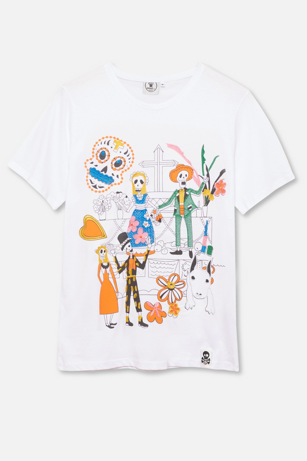 ADULT´S EMBROIDERED T-SHIRT UMAMI LINE SKELETONS PARTY
