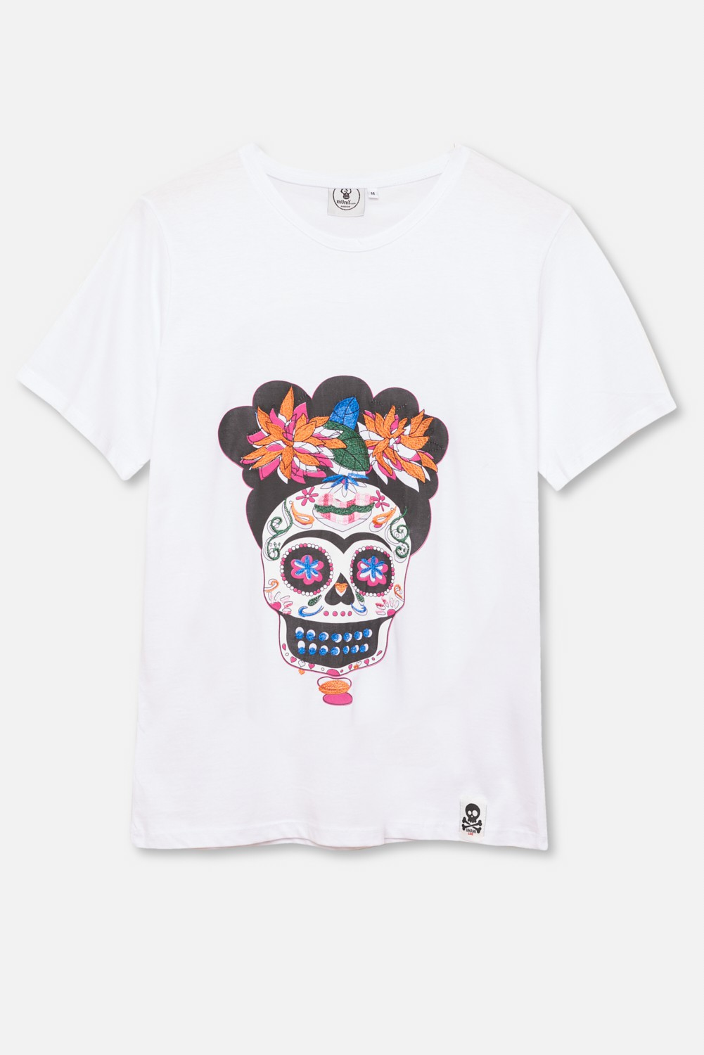 ADULT´S EMBROIDERED T-SHIRT UMAMI FRIDA SKULL