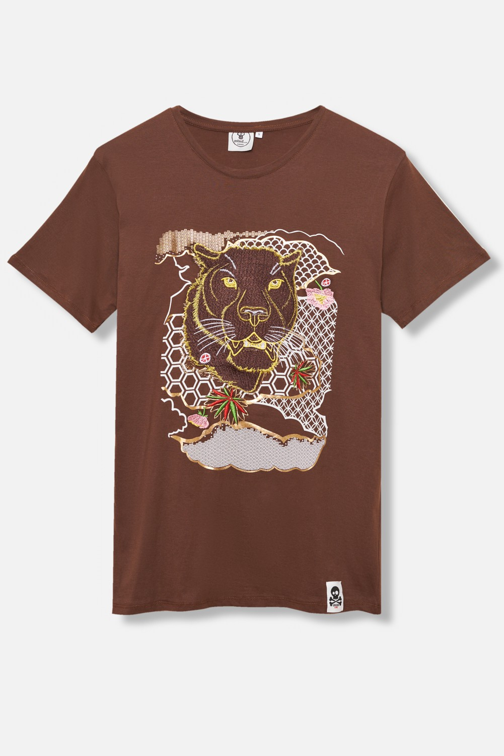 ADULT´S EMBROIDERED T-SHIRT UMAMI LINE BROWN PANTHER
