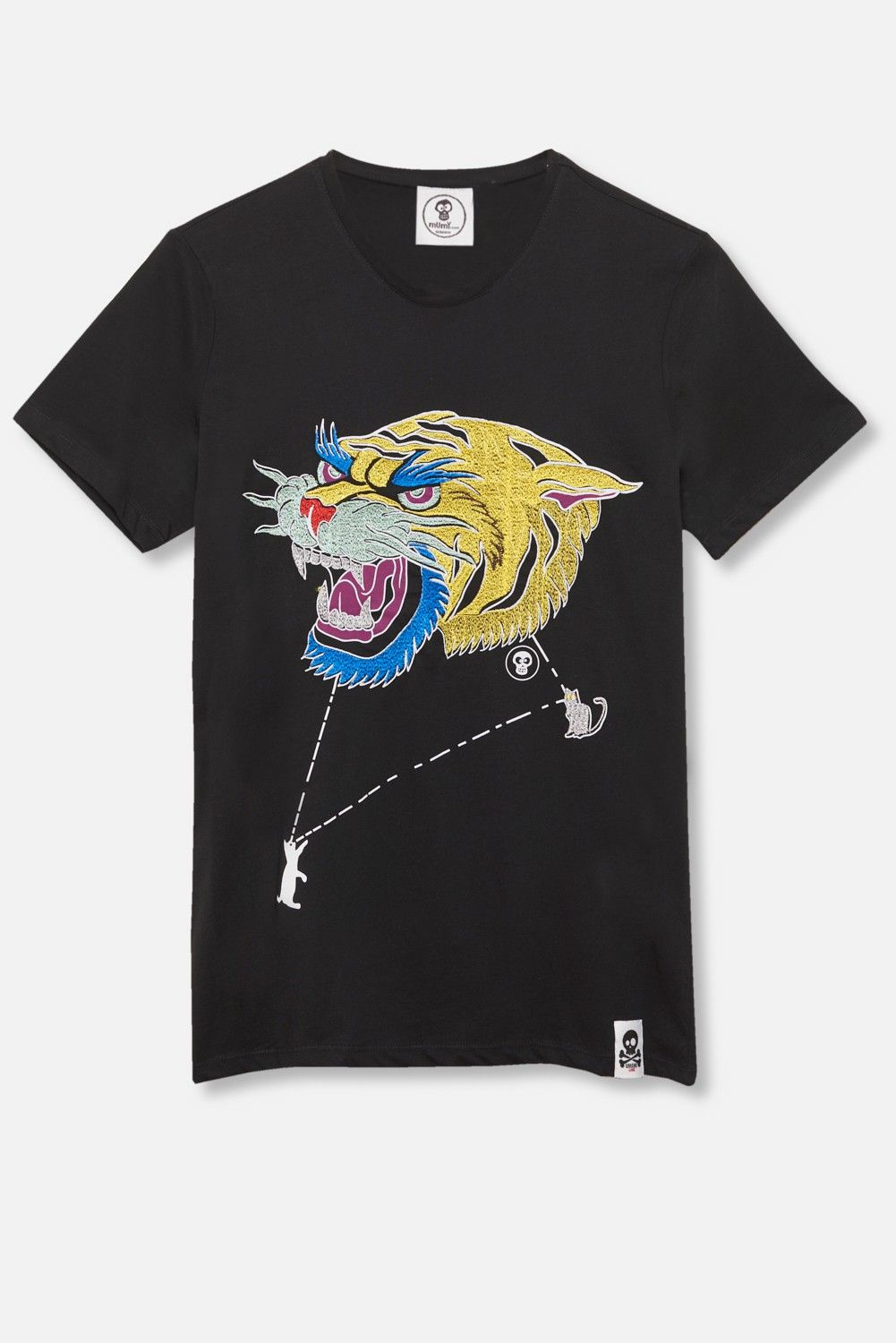 ADULT´S EMBROIDERED T-SHIRT UMAMI LINE TIGER HEAD