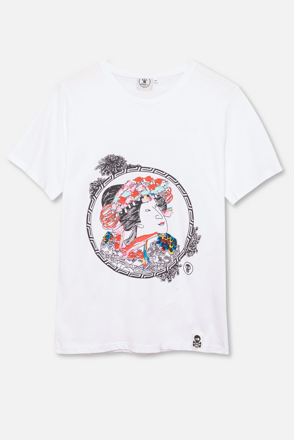 ADULT´S EMBROIDERED T-SHIRT UMAMI LINE FLOWERED GEISHA