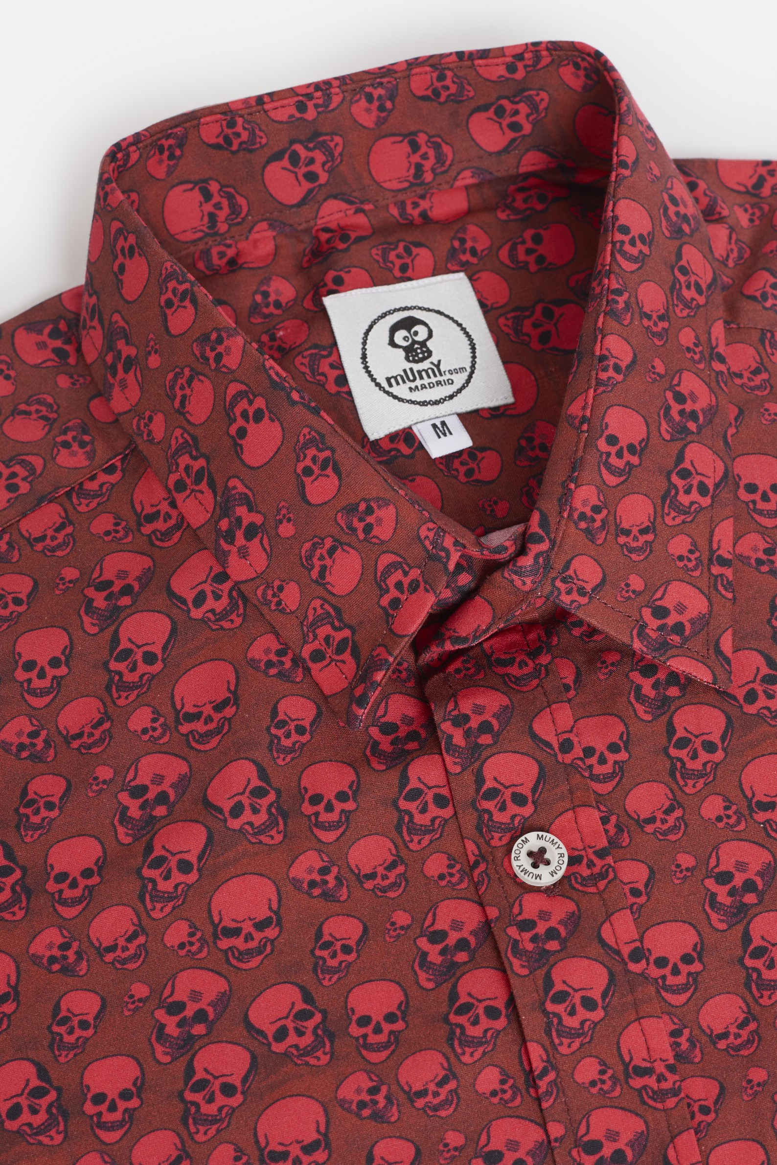 ADULT´S PRINTED SHIRT ROCKER LINE RED SKULLS