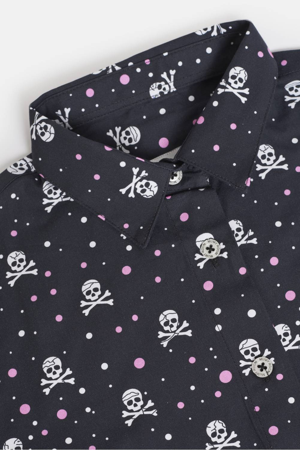 WOMEN'S PRINTED SHIRT ROCKER LINE SKULLS WITH PINK POLKA DOTS