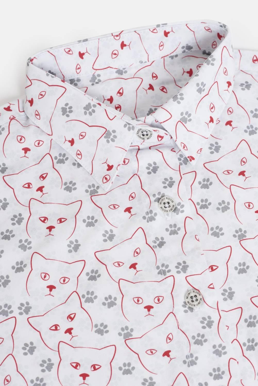 WOMEN'S PRINTED SHIRT UMAMI LINE CATS AND FOOTPRINT