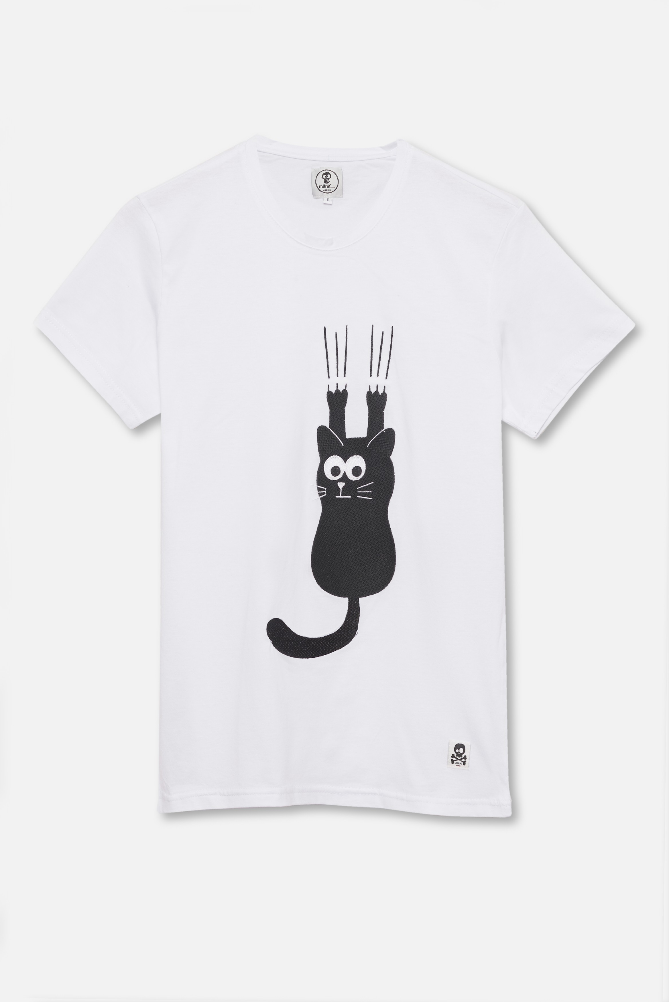 ADULT´S PRINTED T-SHIRT CAT SCRATCH IN WHITE