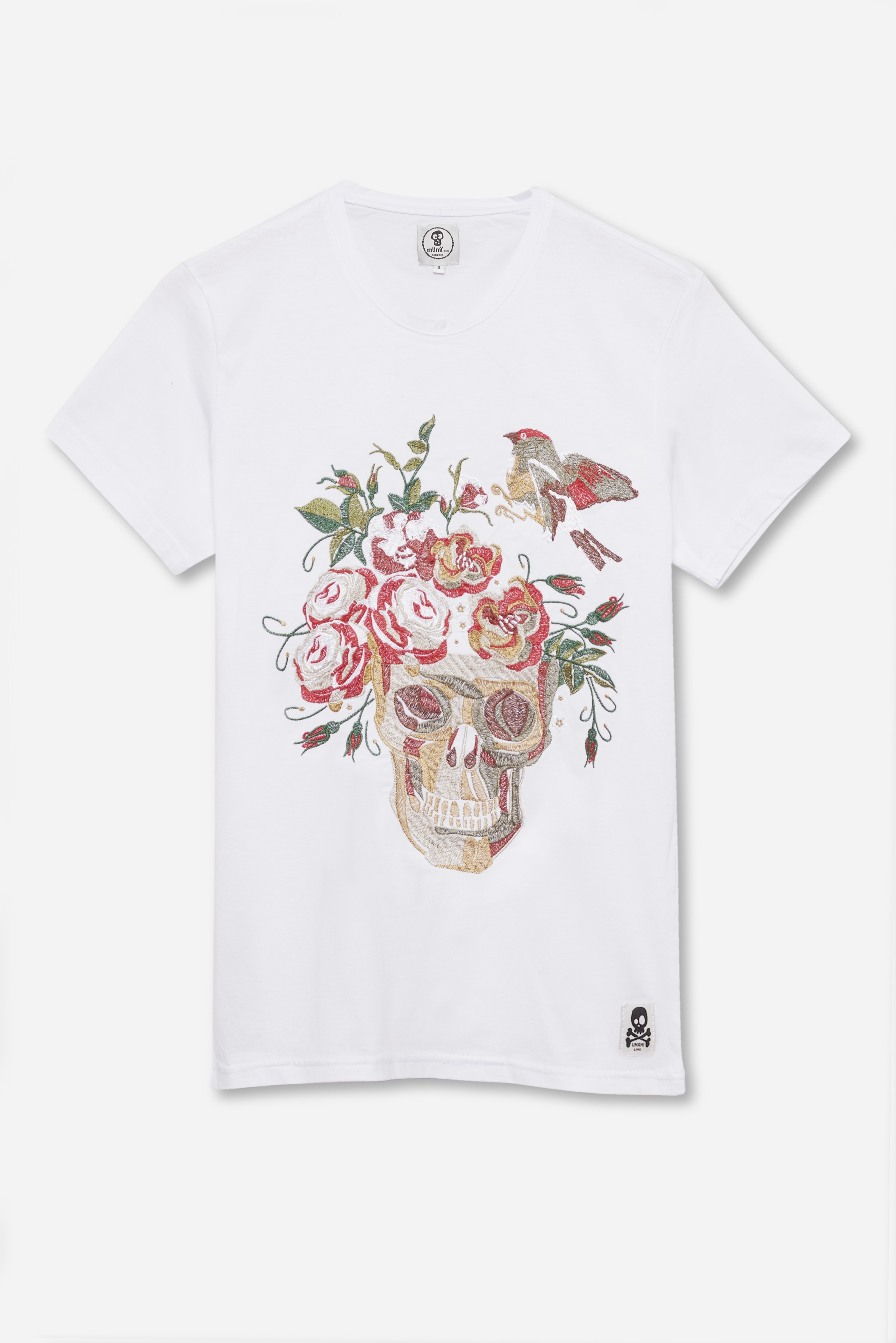 ADULT´S EMBROIDERED T-SHIRT SKULL AND BIRD IN WHITE