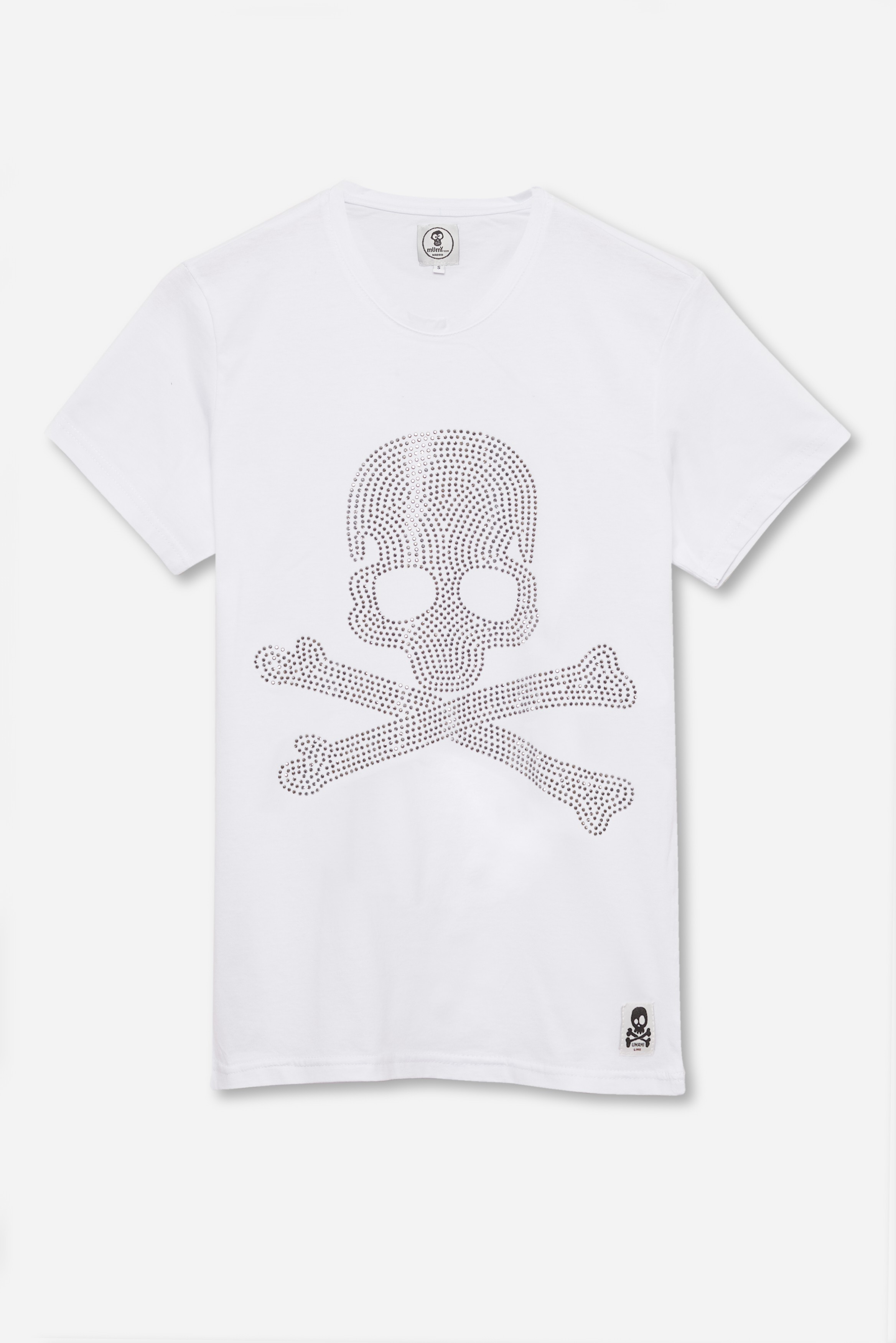 ADULT'S PRINTED SKULL DOTS IN WHITE