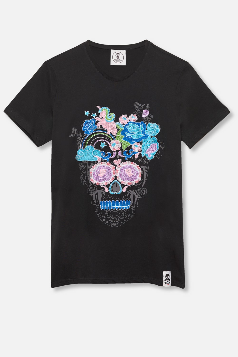 ADULT´S EMBROIDERED T-SHIRT UNIFLOWER SKULL