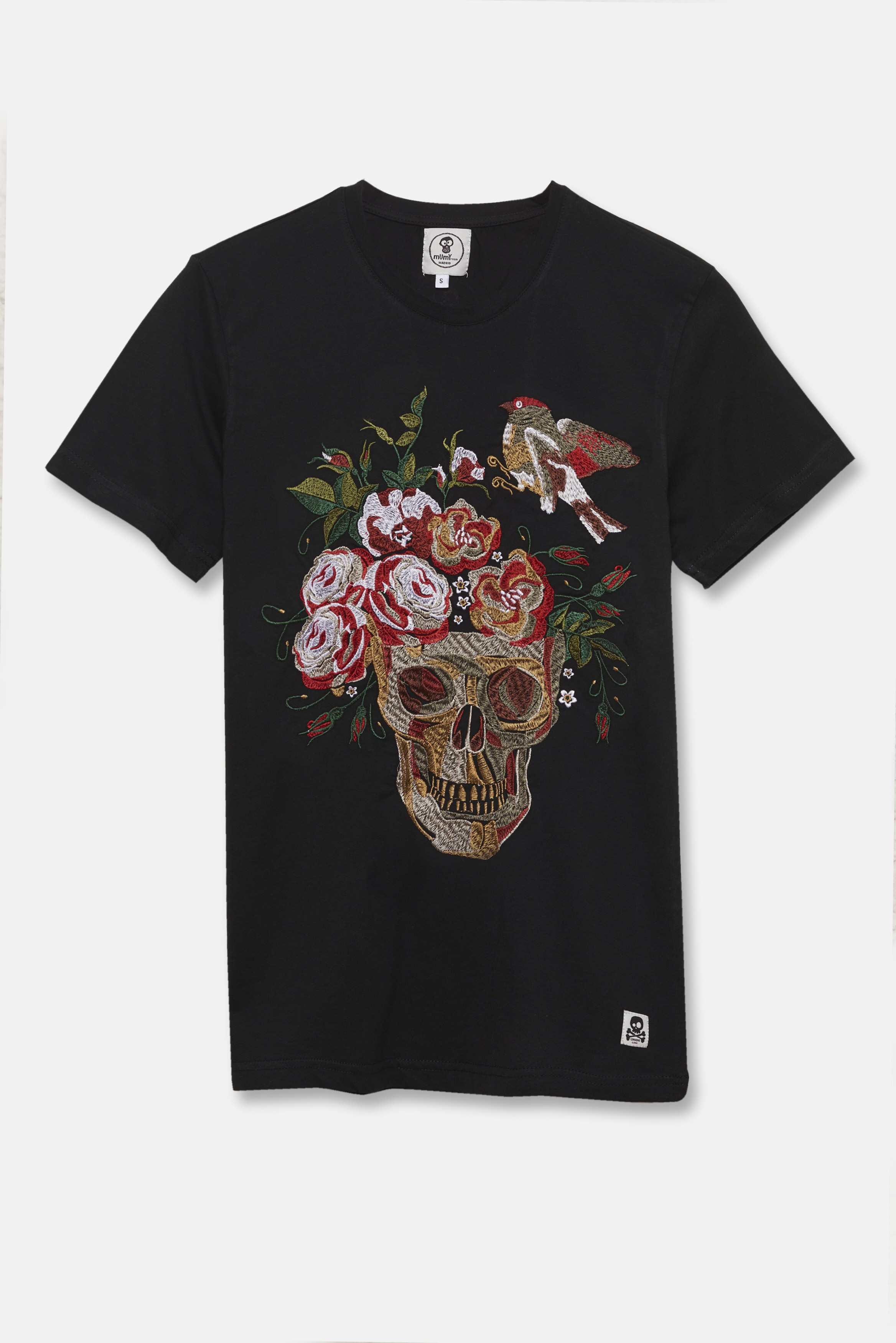 ADULT´S EMBROIDERED T-SHIRT SKULL AND BIRD IN BLACK