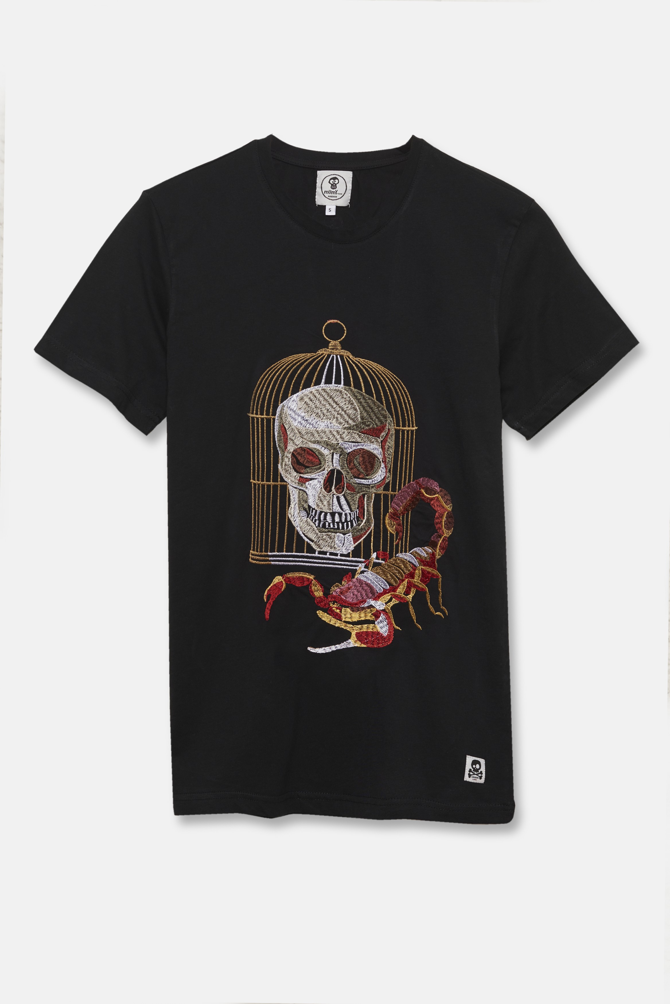 ADULT´S EMBROIDERED T-SHIRT SKULL IN A CAGE IN BLACK