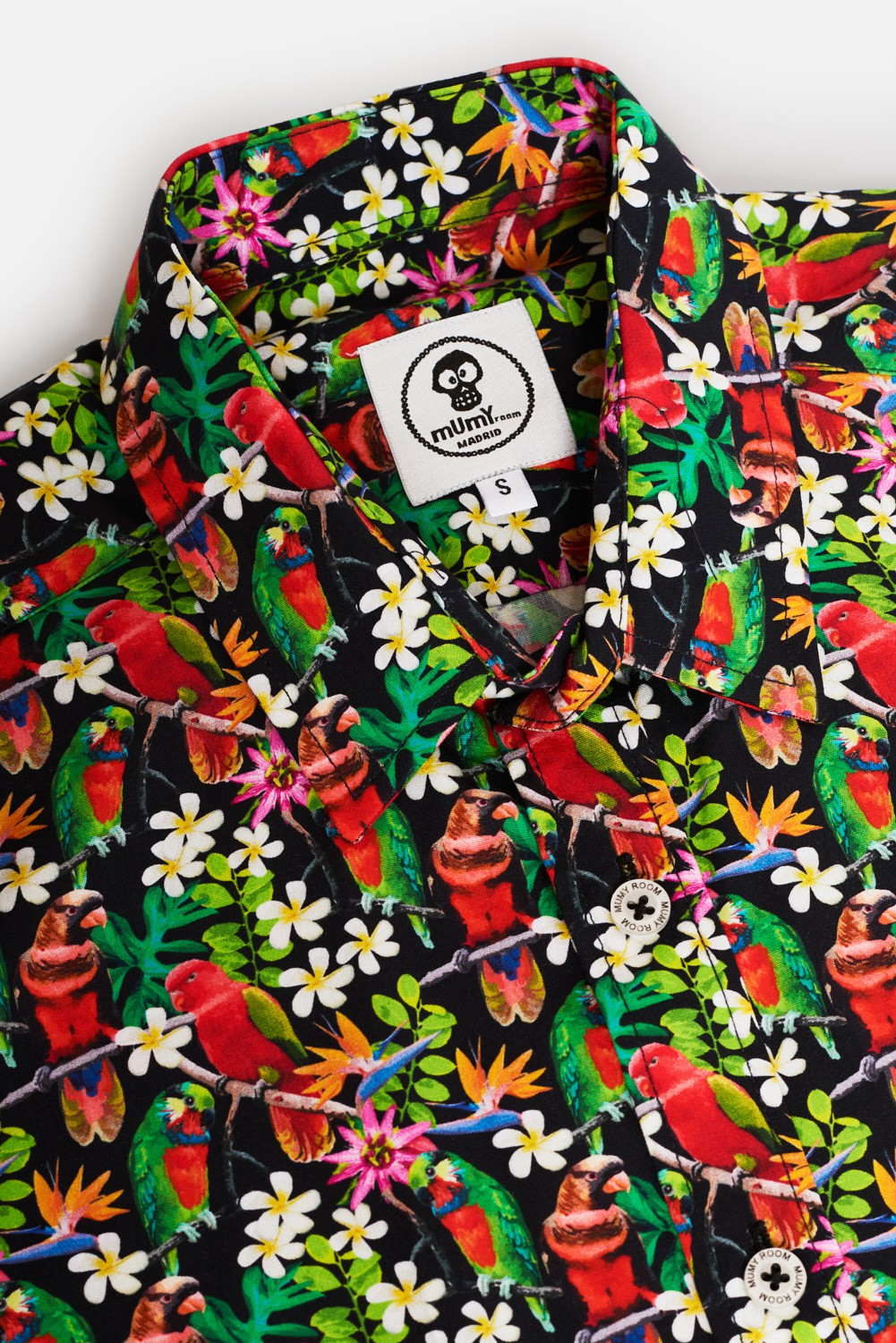 KID'S PRINTED SHIRT RED PARROTS SELFIE