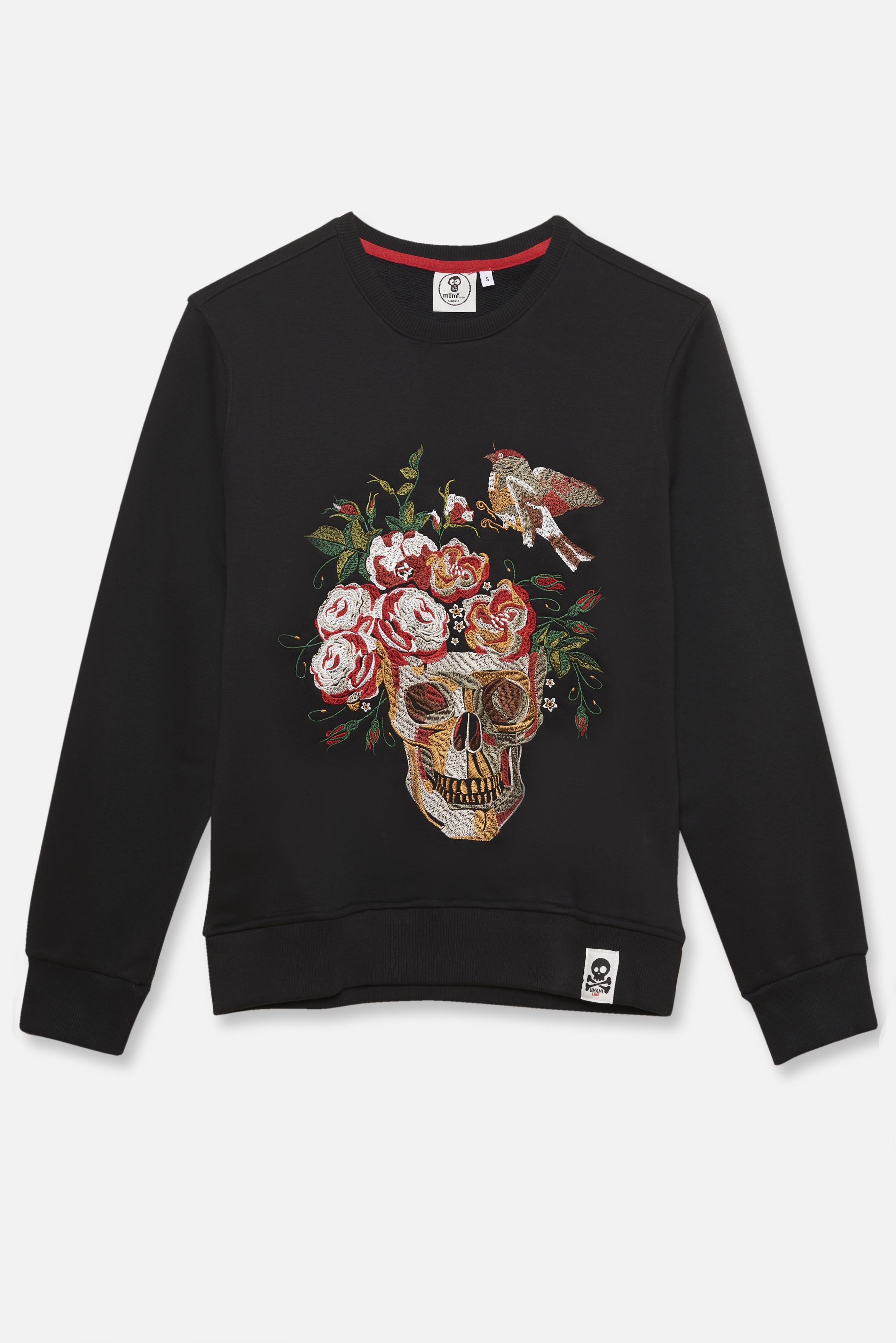 ADULT´S EMBROIDERED JERSEY UMAMI LINE SKULL WITH FLOWER CROWN