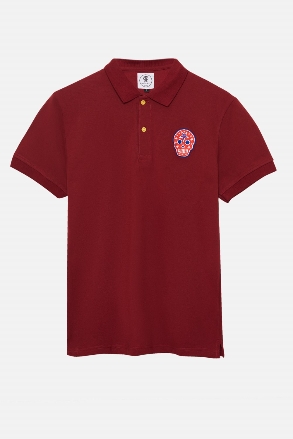 ADULT´S EMBROIDERED POLO RED SKULL IN RED