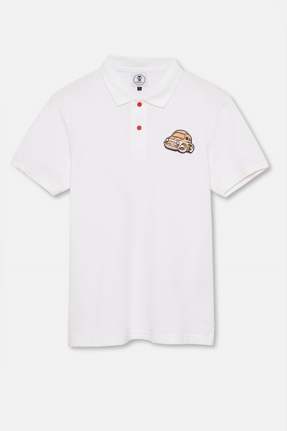 ADULT´S EMBROIDERED POLO GOLD BEETLE IN WHITE