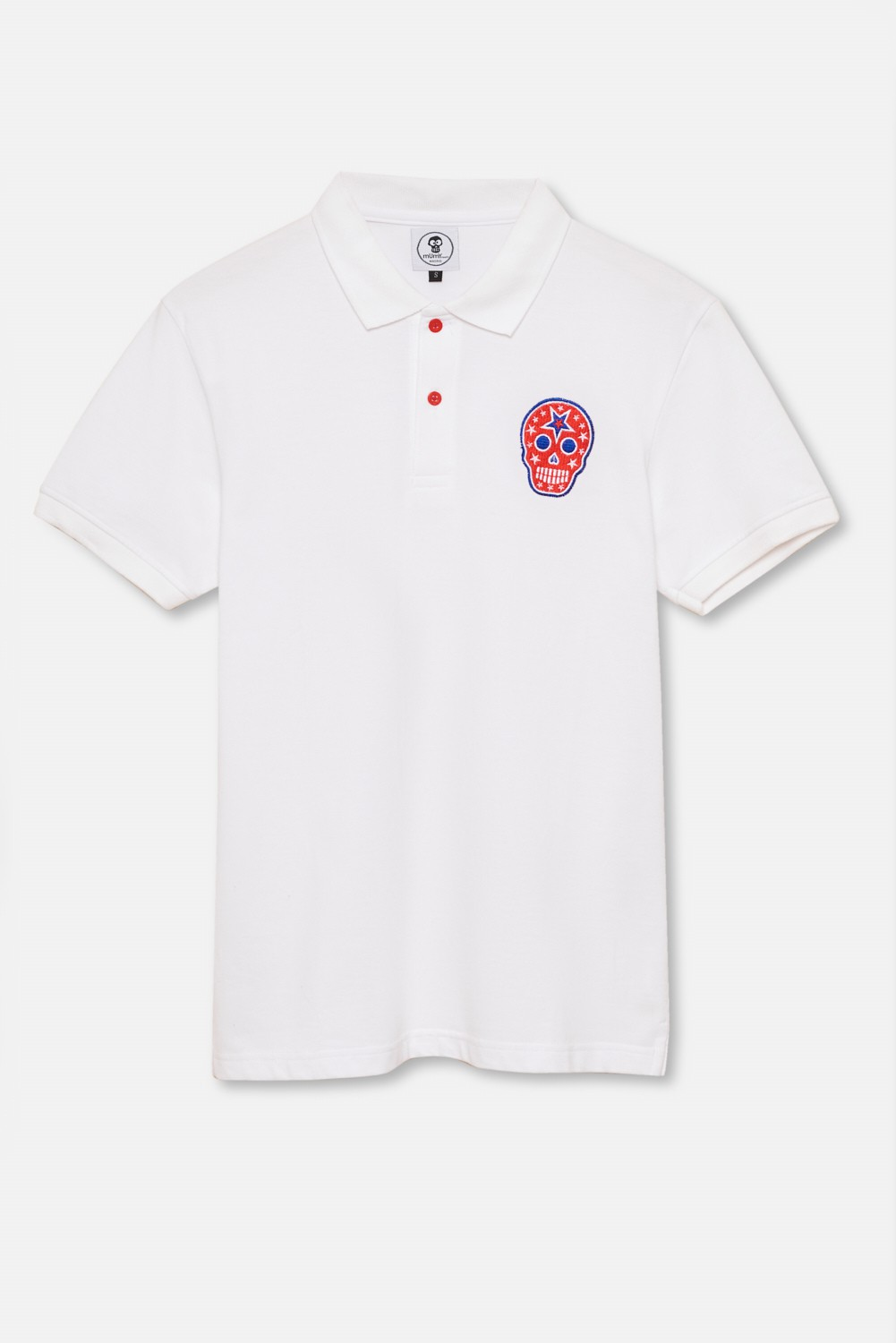 ADULT´S EMBROIDERED POLO RED SKULL IN WHITE