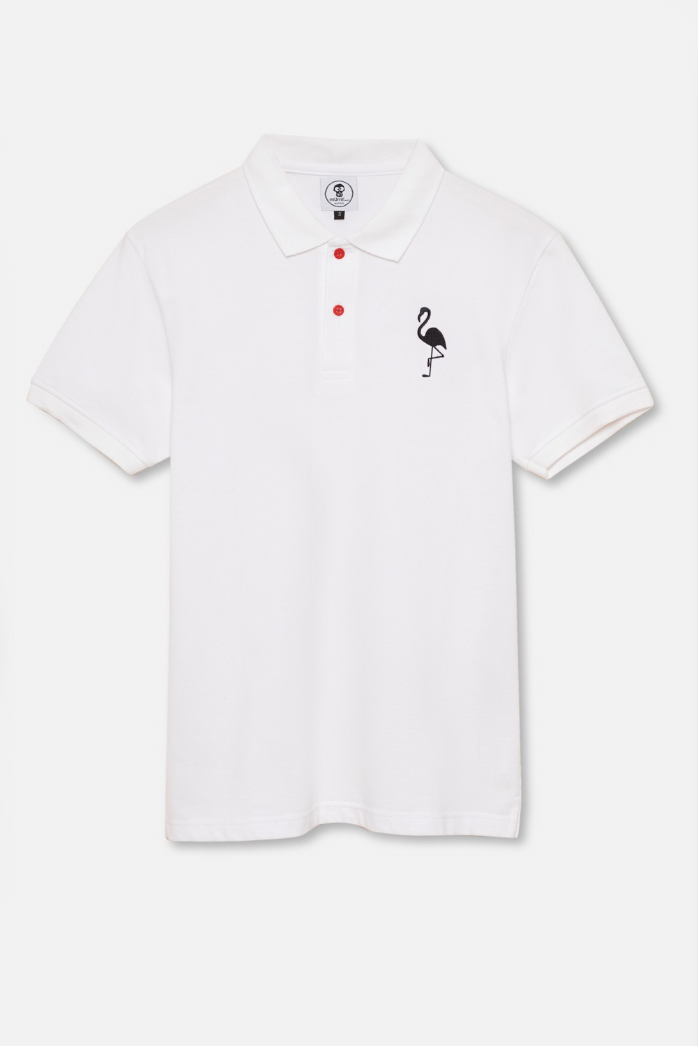 ADULT´S EMBROIDERED POLO BLACK FLAMENCO IN WHITE