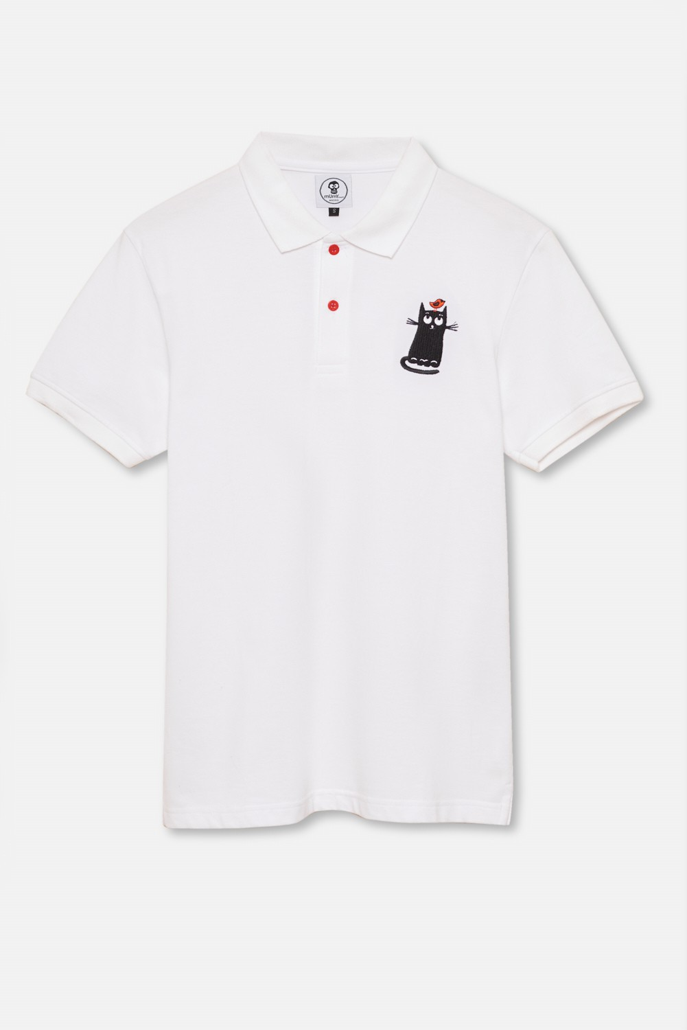 ADULT´S EMBROIDERED POLO CAT WITH BIRD ON THE HEAD IN WHITE
