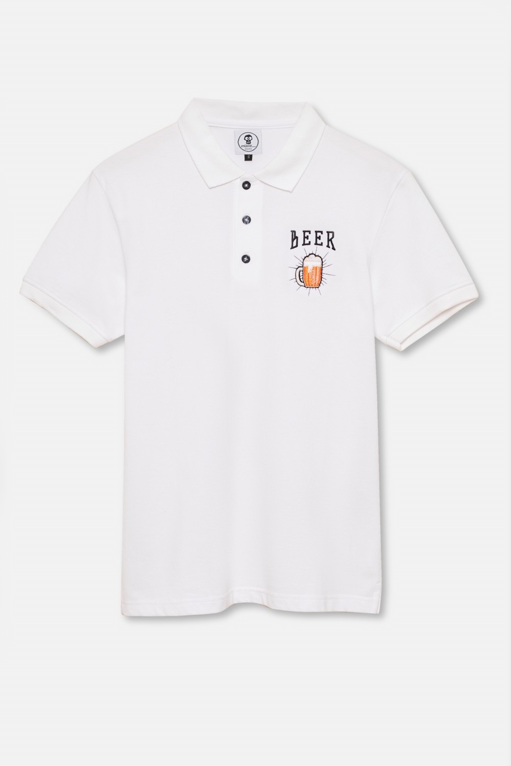 ADULT´S EMBROIDERED POLO BEER IN WHITE