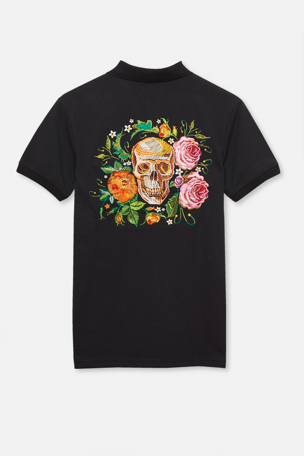 ADULT´S EMBROIDERED POLO THREE ROSES SKULL