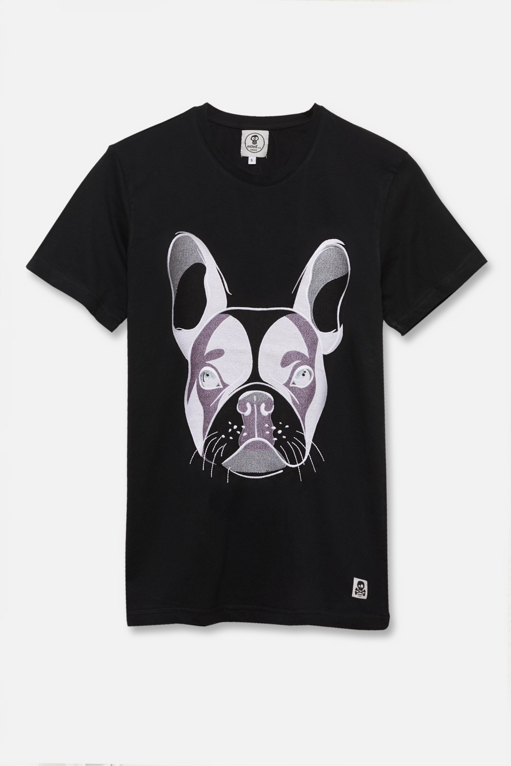 ADULT´S EMBROIDERED T-SHIRT BULLDOG HEAD