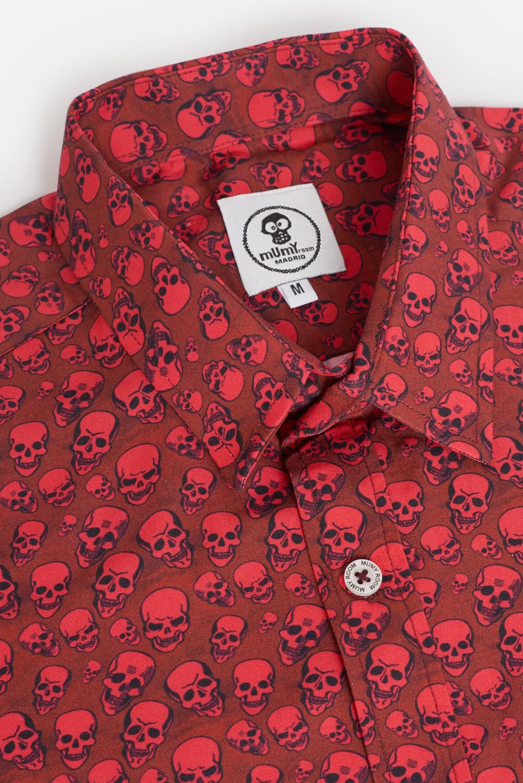 ADULT´S PRINTED SHIRT ROCKER RED SKULLS