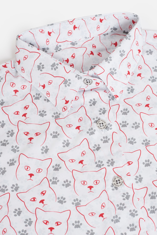 KID´S PRINTED SHIRT UMAMI LINE CAT FOOTPRINTS
